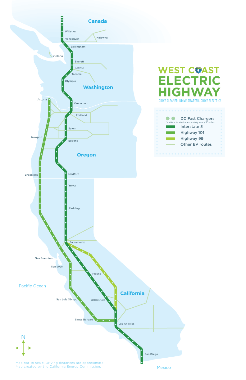 Tesla Charging Stations Map >> West Coast Green Highway West Coast Electric Highway